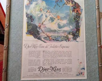 Vintage Framed 1917s Willy Pogany Djer Kiss Perfume Ad Free Shipping!