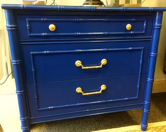 Blue Vintage Faux Bamboo Thomasville Night Stand