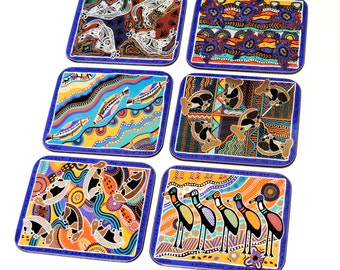 Balarinji Aboriginal Coasters, Vintage Jason Australian Animal Cork Back Drink Coasters, 6 Totem Dreamings, New in Box itsyourcountry