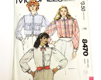 McCalls 8470 Sewing Pattern, Misses Long Sleeve Blouse, Designer Liz Claiborne Shirt, Size 10 Bust 32 1/2,Sleeves Cut on Bias itsyourcountry
