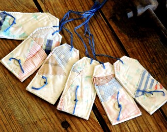 Patchwork Fabric Tags, Handmade Tattered Gift Wrap Tie Ons, Prim Cutter Quilt Baby Girl Boy Everyday All Occasion Hang Tags itsyourcountry