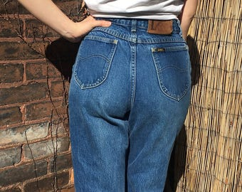 vintage high waist jeans w 28 - perfectly worn in - cropped raw hem