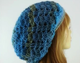 Womens Blue Hat Slouchy Hats Blue Slouchy Hat Trendy Blue Hat Womens Lacy Slouchy Beanie Women Blue Lacy Beanie Hat Blue Free Shipping
