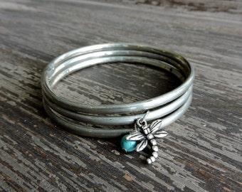 CYBER MONDAY SALE Dragonfly Bracelet Set, Distressed Silver Stacked Bracelets, Turquoise Howlite Stone, Boho Gypsy Jewelry, Bohemian Indian