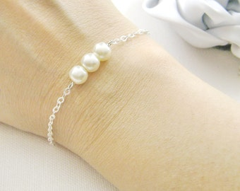 SET of 3 simple pearl bridesmaid bracelet, bridesmaids gift wedding gifts bridal wedding party jewelry - BR002
