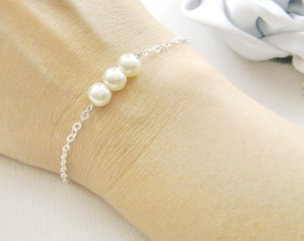 SET of 9 simple pearl bridesmaid bracelet, bridesmaids gift wedding gifts bridal wedding party jewelry - BR002