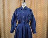 Norma Kamali Denim Dress / Designer Vintage Jean Dress / Long Full Skirt Long Sleeve Dark Denim Dress / Medium
