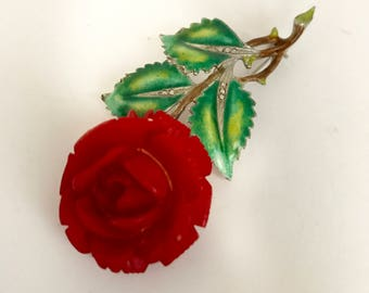 Alice Caviness Germany STERLING Enamell ROSE Pin Brooch Marcasite