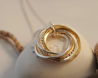 7 Rings Necklace, Interlocking Rings, 70th Birthday Necklace, Mixed Metals Silver & Gold, Grandmothers Necklace Jewelry