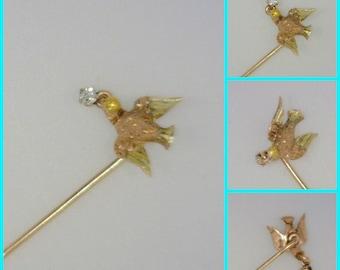 "14K Gold Men's Tie Pin with Dove & Diamond Motif, 1 Gram, 2.5"" Long"