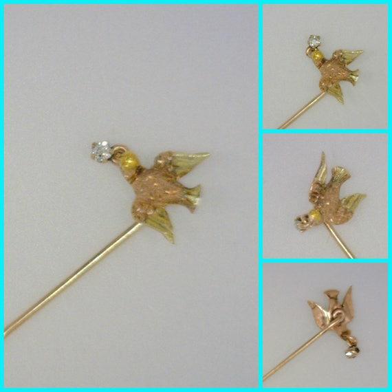34 Grams Unique Diamond Set: 14K Gold Men's Tie Pin With Dove & Diamond Motif 1 Gram