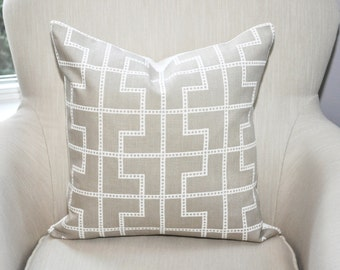 READY TO SHIP // Celerie Kemble Bleecker Fretwork Pillow Cover -- 18x18 -- Birch Beige -- Zipper Closure