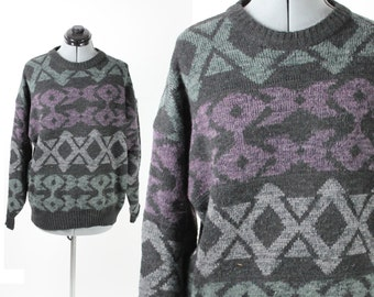 Vintage Retro Aztec Tribal Southwest Patterned Oversized Boyfriend Sweater Large