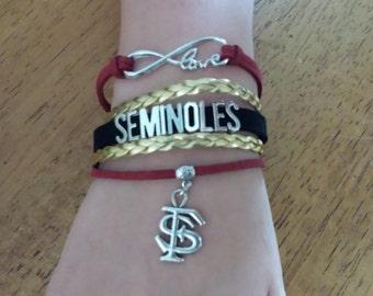 Florida State Seminoles Infinity Love Bracelet, Boho Wrap, with A Charm