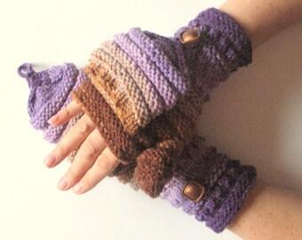 Mittens Fingerless Gloves Convertible Mittens Purple Brown Arm Warmers Knit Soft