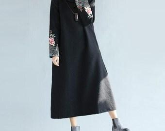 women maxi dress loose Black long cotton dress