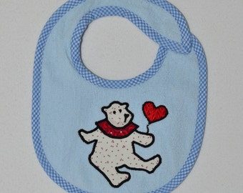 Teddy Bear with Balloon Infant Bib- Teddy Bear with a Red Balloon Applique Terrycloth Infant Bib
