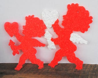 Vintage Valentine Cupid Melted Plastic Popcorn Decorations Set of 2