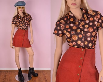 90s Does 70s Button Down Top/ Medium/ 1990s/ Short Sleeve