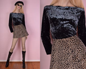 90s Blueish Grey Crushed Velvet Shirt/ Medium/ 1990s/ Long Sleeve