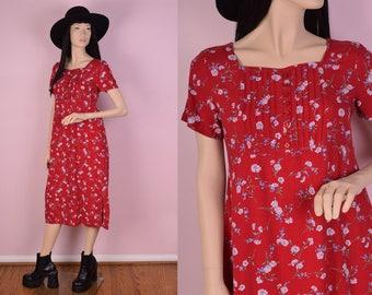 90s Red Floral Print Dress/ Medium/ 1990s/ Short Sleeve