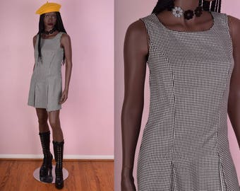 90s Black and White Houndstooth Dress/ US 5-6/ 1990s