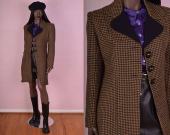 90s Wool Houndstooth Coat/ Small/ 1990s/ Jacket