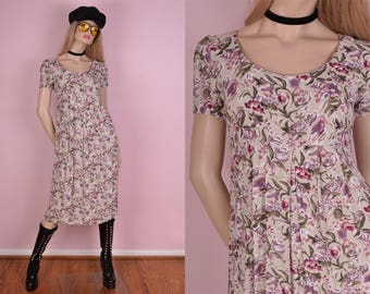 90s Floral Print Flowy Dress/ US 3-4/ 1990s/ Short Sleeve