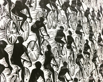 Bicycle Peloton II Wall Art Print - Black and White Bike Art
