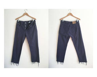 Calvin Klein Navy Blue Button Fly Jeans + Vintage 90s Straight Leg Jeans + Dark Navy Blue Denim + High Waist Jeans + Boyfriend Jeans +