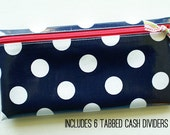Cash envelope system budget wallet with 6 tabbed dividers | navy & white dot laminated cotton with watermelon zipper