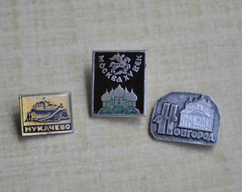 "Set of 3 Vintage Soviet Russian badges.""Russian architecture-Churches,Temples"""
