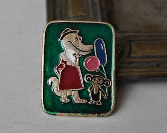 "Vintage Soviet Russian badge,pin. ""Soviet Cartoon Characters-Cheburashka"""