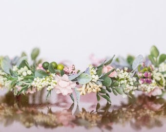 Spring Flower Crown - Greenery Flower Halo - Flowergirl hairpiece - Summer Wedding - Newborn Photo Prop - Wedding Crown - Floral Hairpiece