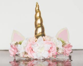 UnicornFlower Crown - Flower Rustic Halo - Flowergirl hairpiece - Wedding - Photo Prop - Floral Hairpiece - Magical Unicorn - Birthday Crown