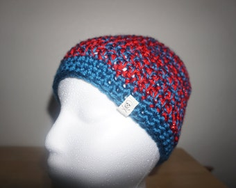 Blue and Red Shiny Bun Beanie