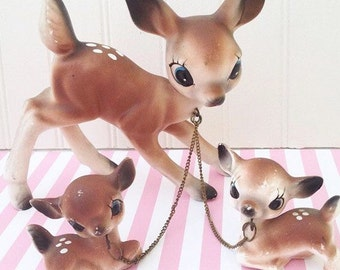 Vintage Chain Deer Family Figurines, 1950s Chained Woodland Deer Doe and Fawns, Kawaii Kitsch Collectible Deer, Made in Japan