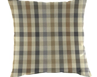 Two  20 x 20  Custom Decorative Pillow Covers -   Sunbrella Connect Dune  - Plaid