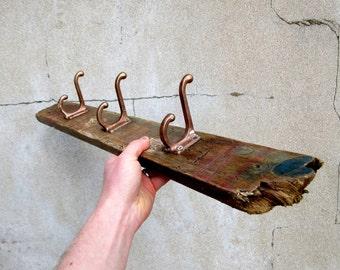 Rustic Vintage Hooks on Driftwood Back Coat Rack