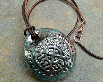Clay Whistle Raku-Fired Pendant Necklace