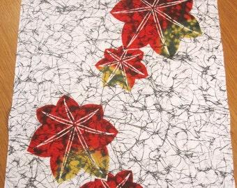 Vintage Japanese Yukata Fabric Set of (6) Pcs - White Cotton w/ Red-Orange Yellow Maple Leaves / Black Marbling.