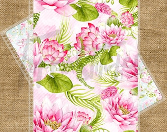 Pink Floral Lotus Themed Planner Cover for Erin Condren, Plum Paper Planner or Happy Planner