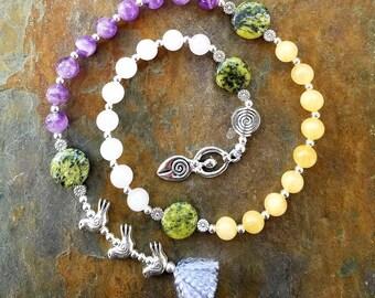 Ostara Rites of Spring, Pagan Prayer Beads, Meditation Beads, Witches Rosary, Spiral Goddess, Wiccan Prayer Beads, Pagan Rosary