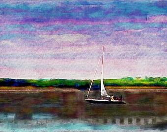 "Marshland Sailing, 13"" x 19"" Limited Edition Giclee Print, No. 1"