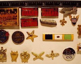 20 Vintage Enamel Military Hat/Lapel/Pin/Tie Tacks