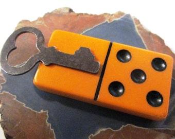 Bakelite Domino Heart Love Key Pendant Chain Jewelry