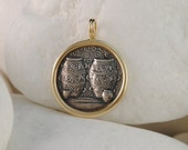 Ancient Greek Coin Pendant, Jars of Prosperity - Solid 14K Yellow Gold and Solid Sterling Silver - FREE Shipping