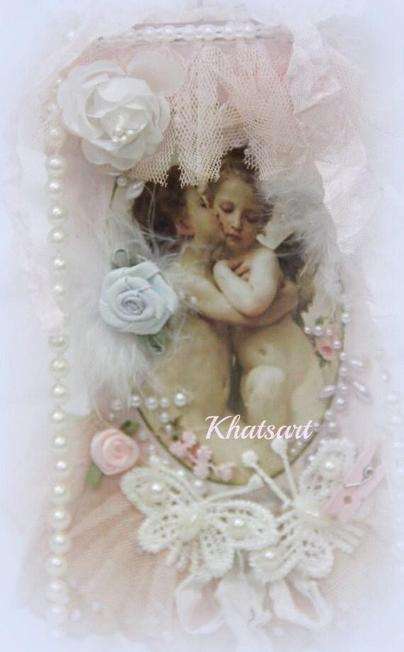 Antique Sweet Cherub, Love, Gift Tags, Valentines Day Gift Tags, Lace Angel Tag, Cherub, Cupids, Cupid Tag, Art Tag, Shabby Khatsart