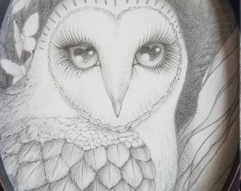 "Original illustration ""hidden in these eyes"" - Owl in forest with moths"