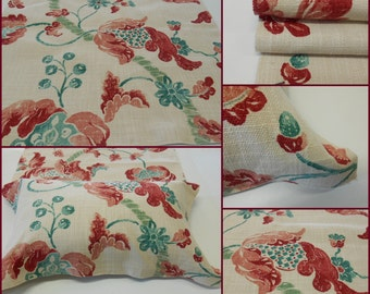 "Lee Jofa -Home Decor Fabric-Sevenoaks-Coral-JadeJacobean--pc w 25""x 36""Long - The Royal Oak Collection-"